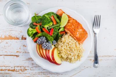 Porciones en un plato saludable